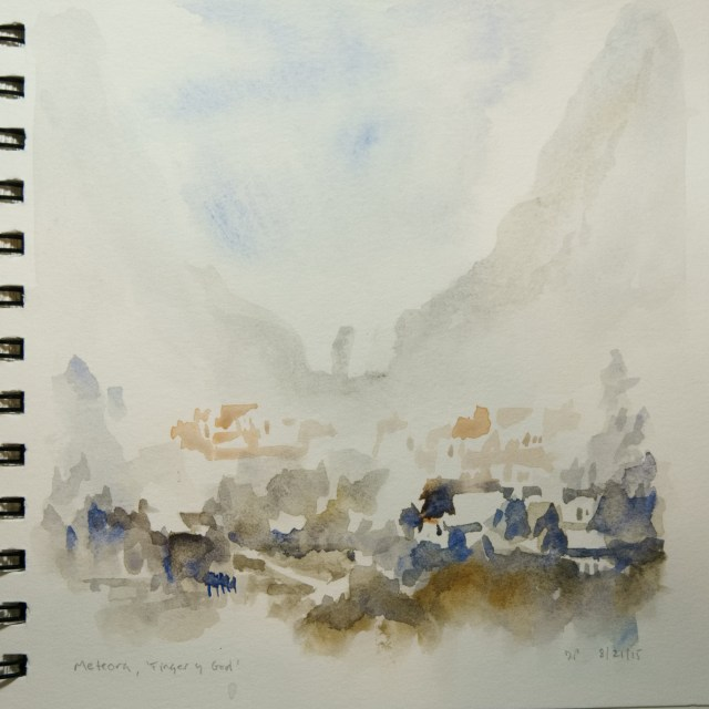 Watercolour of the 'Finger of God' in Meteora by David Pearce