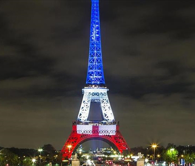 Eiffel Tower with French Colors