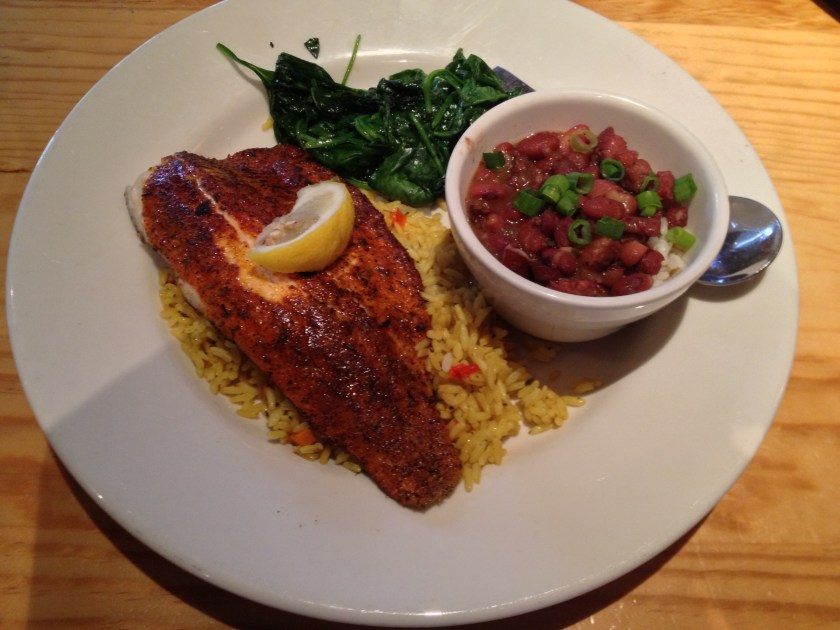 Blackened Tilapia, Sautéed Spinach, Red Beans and Rice