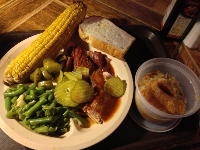 BBQ Turkey & Sausage, Corn, Green Beans, Peach Cobbler