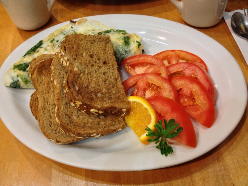 Egg White Omelet, Sliced Tomatoes, Toast