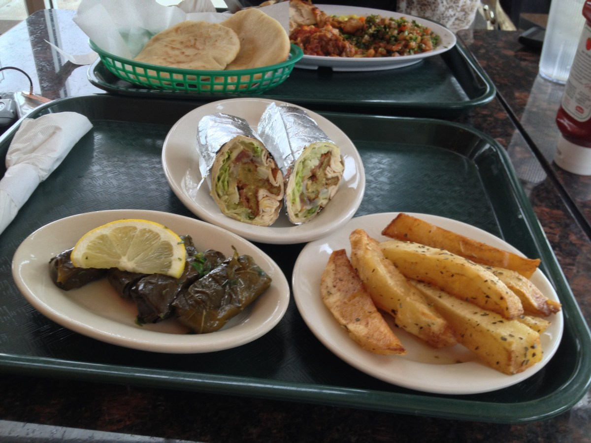 Stuffed Grape Leaves, Roasted Potatoes, Falafel Sandwich