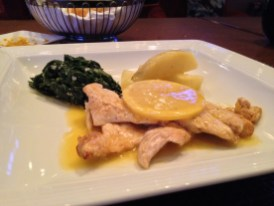 Lemon Chicken Scaloppini, Potato Salad and Sautéed Spinach