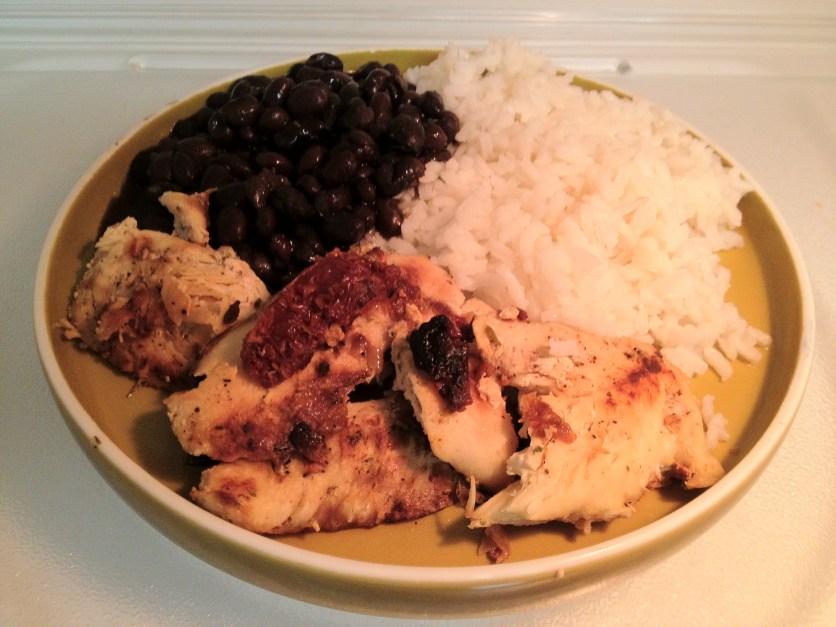 Sautéed Chicken w/Sun-Dried Tomatoes, Black Beans, White Rice