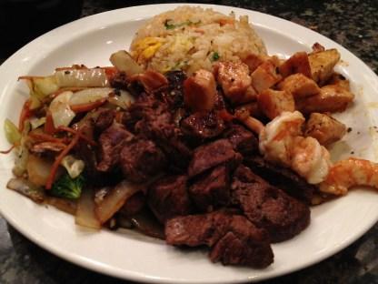 Steak, Chicken, Shrimp, Vegetables, and Fried Rice