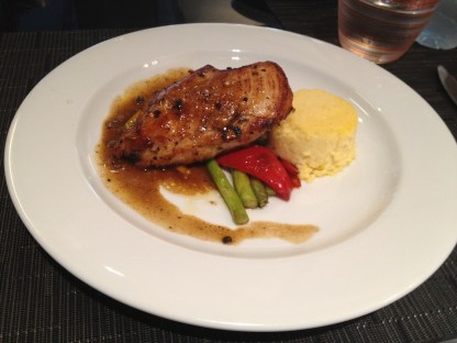 Pan-Grilled Chicken Breast, Polenta, and Asparagus