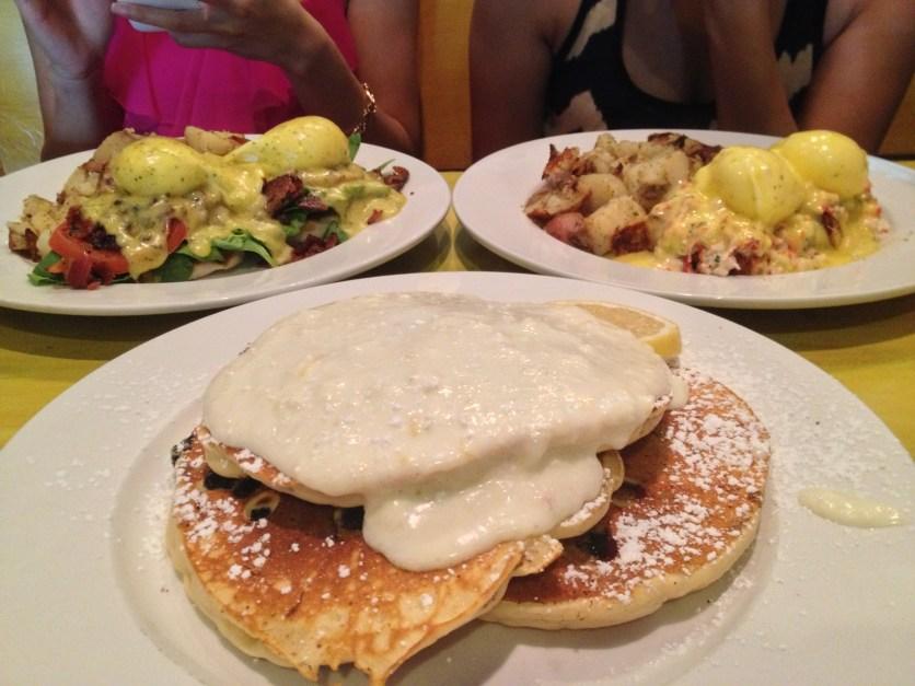 Lemon Blueberry Pancakes, Lobster Eggs Benedict, BLT Benedict