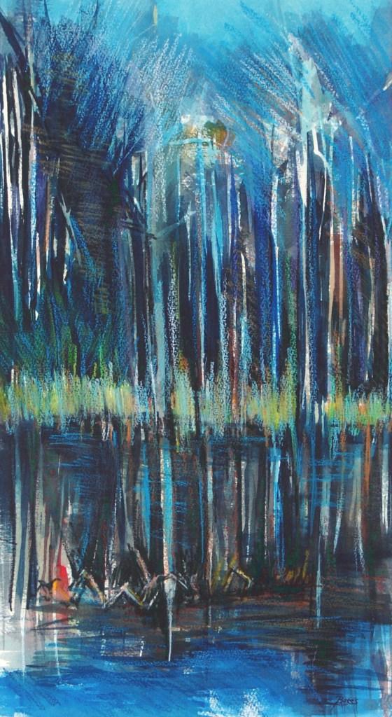 """Philip Bates Artist """"Bluebill Pond"""" 11 1/2X 21 1/2 mixed media $250 framed"""