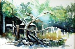 "Philip Bates Artist ""Cedar at Dunham Point"" Mixed Media 14X21 $250 Framed"
