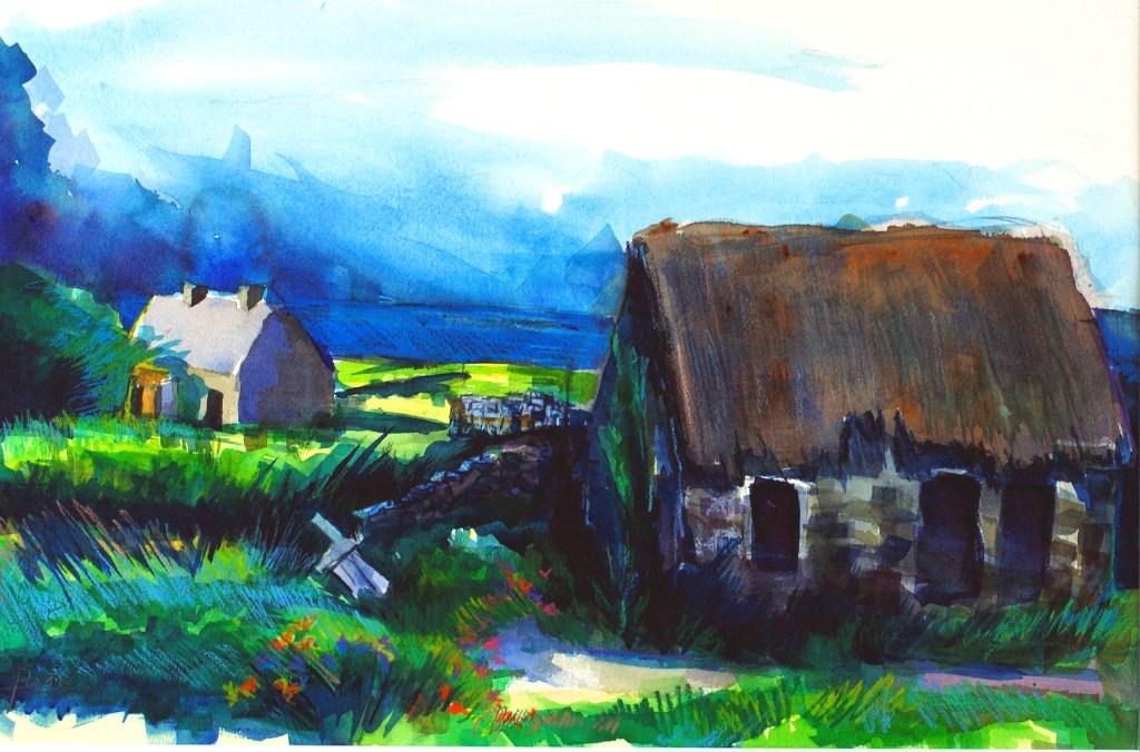 "Philip Bates Artist ""Famine Houses- Ireland"" 14 1/2 X 21 1/2 Mixed Media $150 unframed"