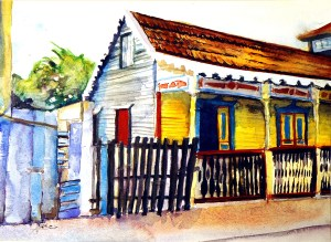 """House on Isla Mujeres, Mexico W/C 11 X 15 $150 framed"