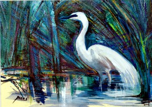 "Philip Bates Artist ""Marsh Bird at Harris Neck"" Mixed Media 10 X14 $100 unframed"