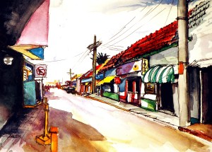 "Philip Bates Artist ""Street Scene- Isla Mujeres, Mexico"" Mixed Media 8 1/2 X 11 3/4 $120 unframed"