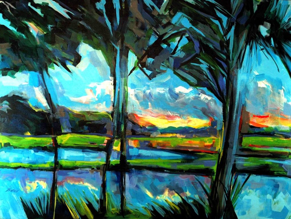 "Philip Bates Artist ""Sundown on Eagle Neck"" acrylic 36X48 $2000 w/ strip frame"