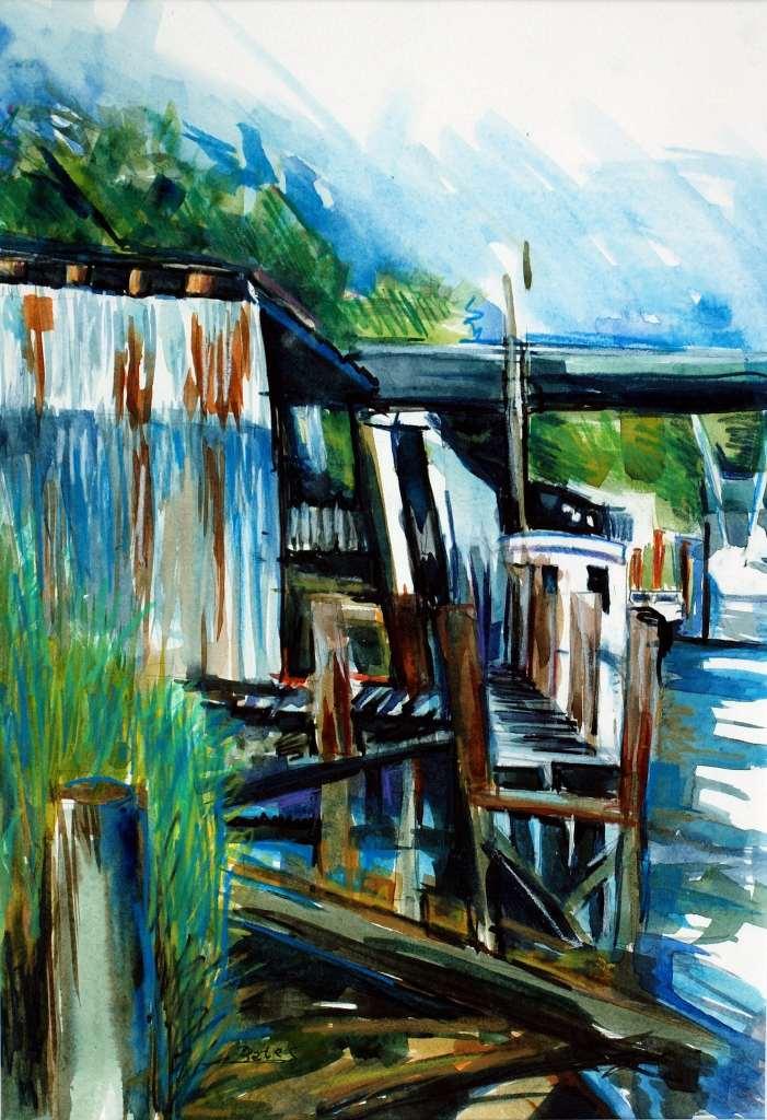 """Philip Bates Artist """"Darien Warfs"""" 10 1/2X14 1/2 mixed media $150 framed"""