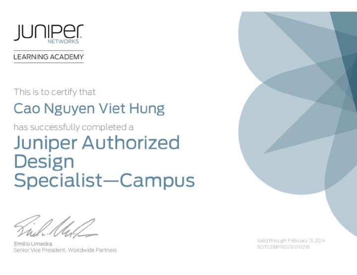 Juniper Authorized Design Specialist—Campus