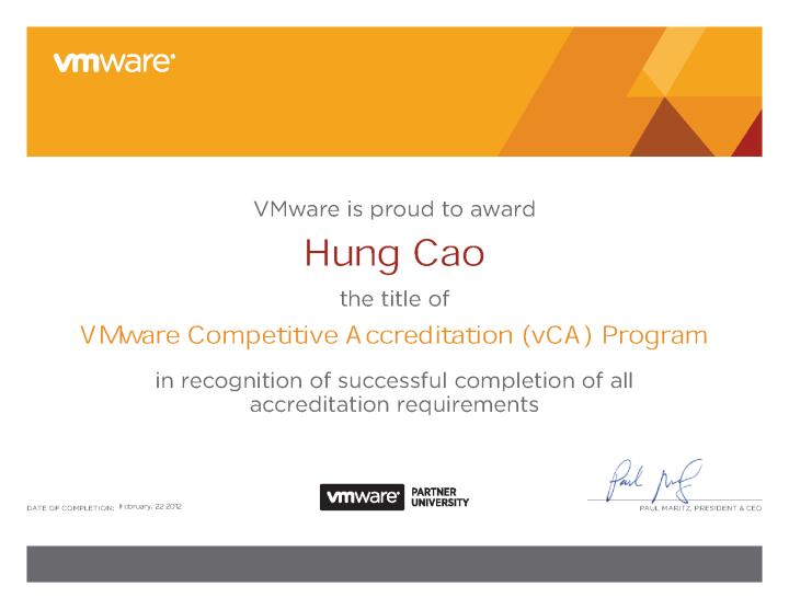 VMware Competitive Accreditation (vCA) Program