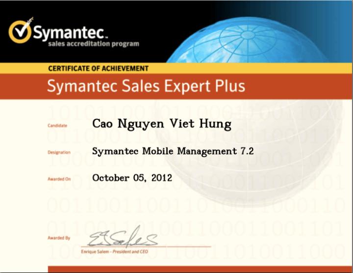 Symantec Sales Expert Plus (SSE+) – Symantec Mobile Management 7.2