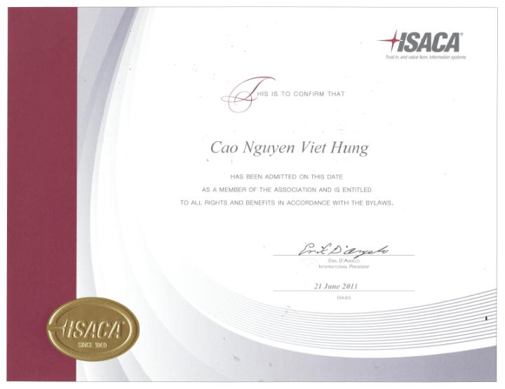 ISACA – 2011 Certificate of Membership