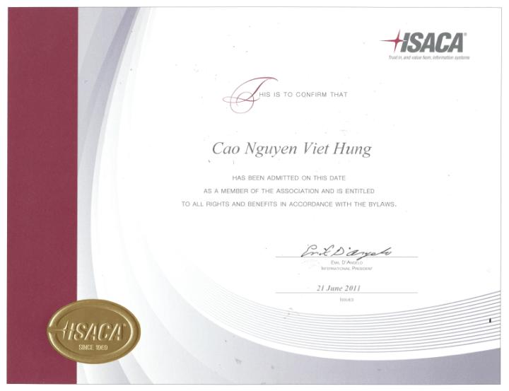 [2011] Hung Cao - ISACA - Certificate of Membership