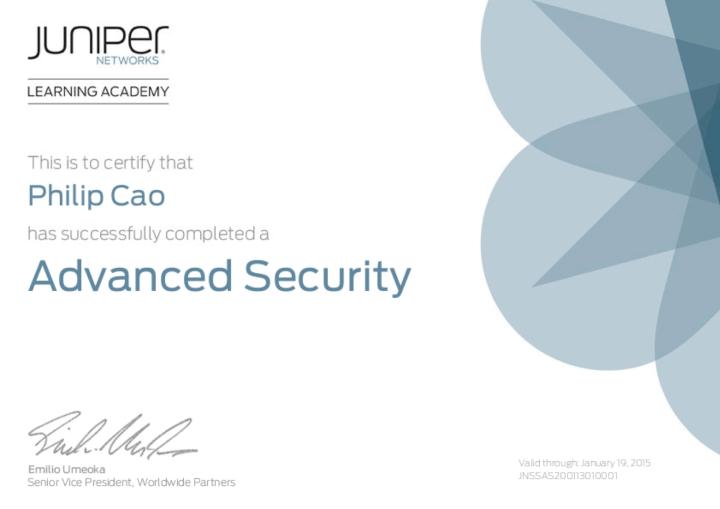 Juniper Networks Sales Specialist (JNSS) – Advanced Security [2013]