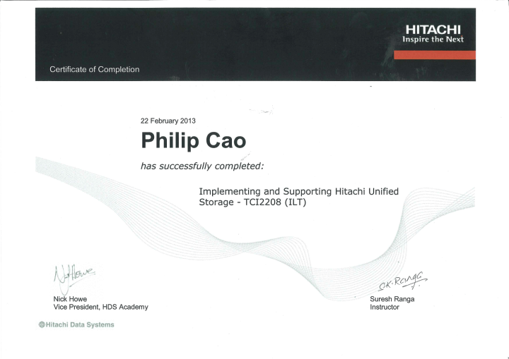 Implementing & Supporting Hitachi Unified Storage (TCI2208) – Certificate of Completion