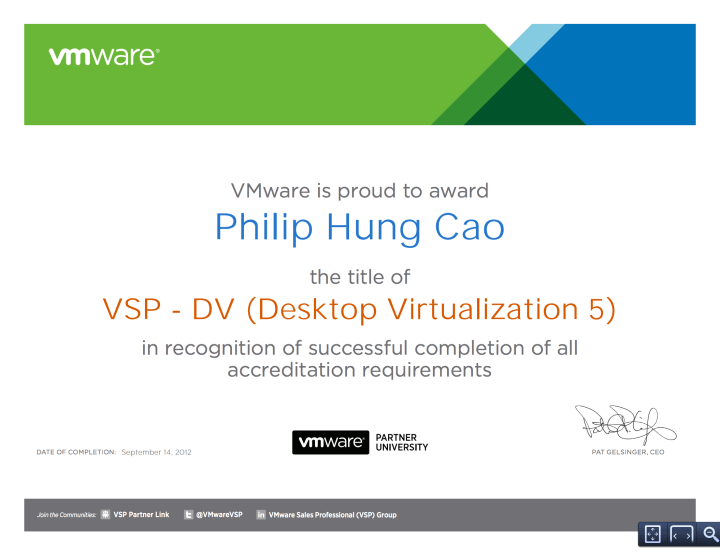 VMware Sales Professional – Desktop Virtualization 5 (VSP-DV5)