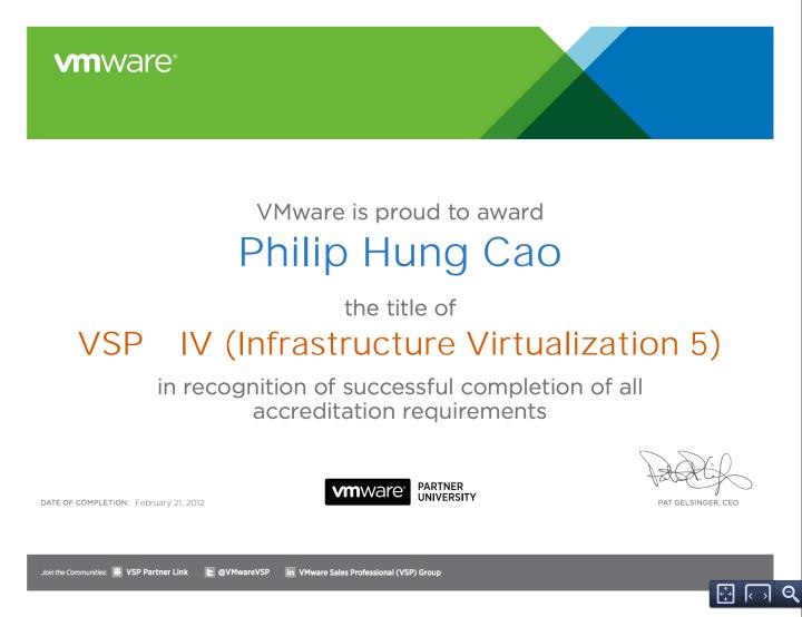 [2012] Philip Cao - VSP ‐ IV (Infrastructure Virtualization 5)