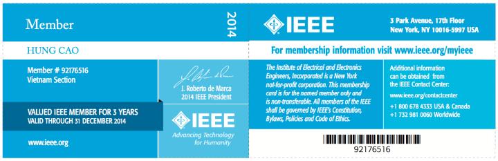 [2013] Philip Cao - IEEE Membership Card 2014