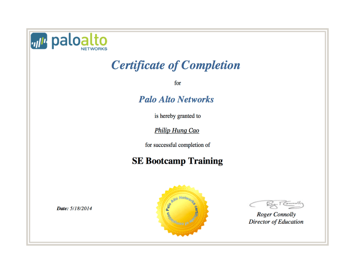 [2014] Philip Hung Cao - SE Bootcamp Training - Certificate of Completion