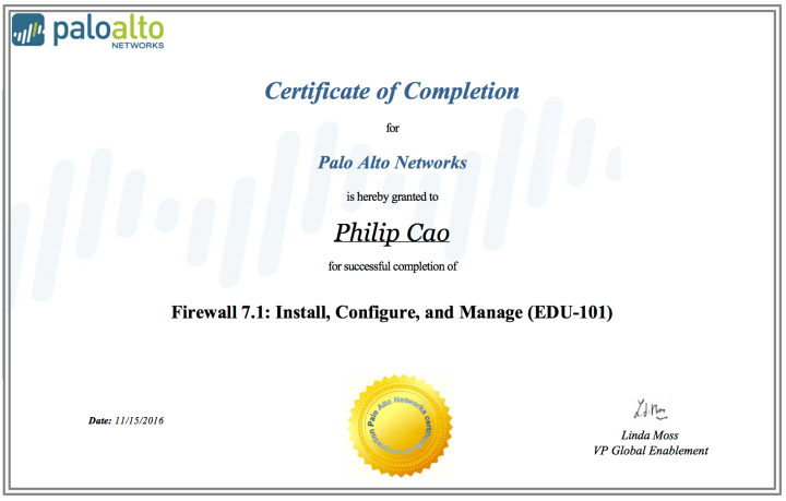 Firewall 7.1 – Install, Configure, and Manage (EDU-101) – Certificate of Completion