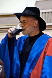 Terry Pratchett enjoys a glass of Guinness after receiving his honorary degree at Trinity College Dublin 2008. Photo: Patrick Theiner