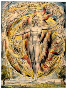 'The Sun at his eastern gate' by William Blake. Reminiscent of the World card in the the Tarot.