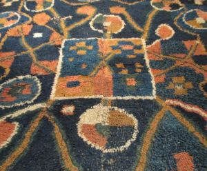 Detail of a Taatit rug from Shetland on display at the Shetland Museum