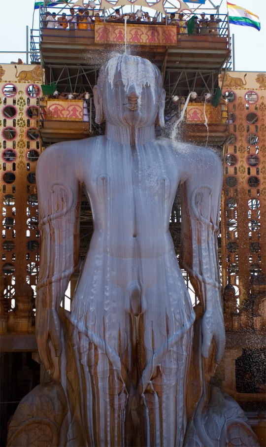 The most famous festival in Jainism occurs every 12 years in the town of Shravanabelagola in Karnataka. The 10th century statue of Bahubali, Lord Gommateshvara, is annointed with water, milk and turmeric amidst great celebration.