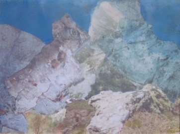Boulder, Cornwall, collage, oils on paper