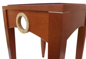 Mahogany table with maple ring side view