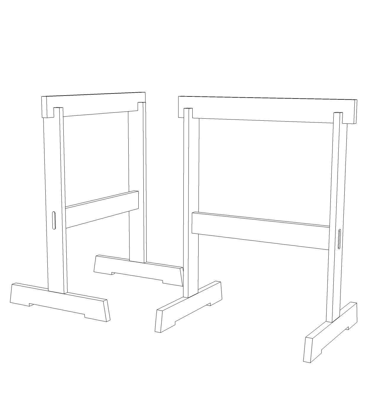 sketchup image of James Krenov Style Sawhorse Project Plans