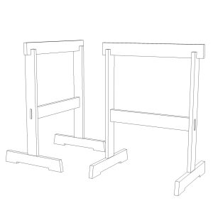sketchup image of James Krenov Style Sawhorse Project Plans