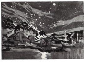 11 'Wintersky', 5x7, aquatint, 2011