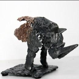 Sculpture de Philippe Buil - Pavarti Passage de Rhyno en dentelle de Bronze et d'acier - Pièce unique - hauteur 16 cm