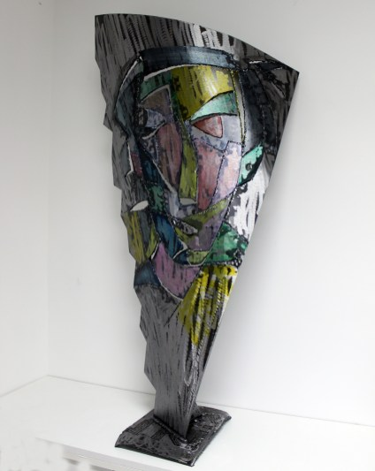 Lampe de Philippe Buil en Acier et encres Pièce unique