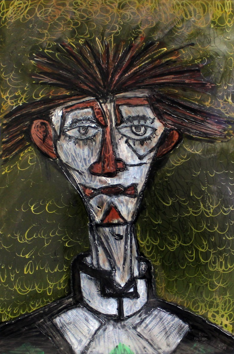 Tableau hommage Bernard Buffet Clown jaune - Tableau acier encr