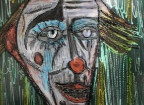 Tableau hommage Bernard Buffet Clown Jaune et vert Tableau acier encré Création Philippe Buil Pièce unique