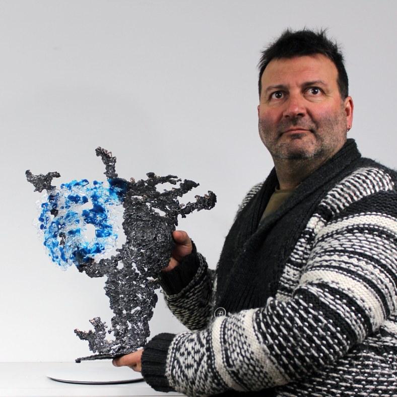 Belisama bleu mer - Sculpture Philippe Buil - Buste de femme Met