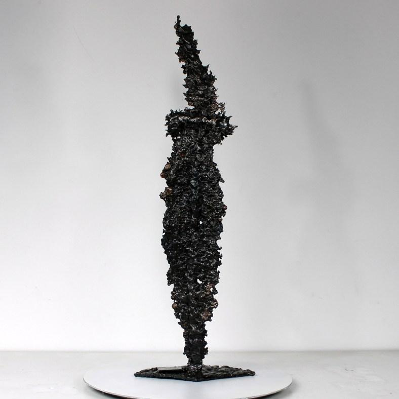 Acteur de l'ombre 3 - Sculpture Visage dentelle métal Acier Bronze
