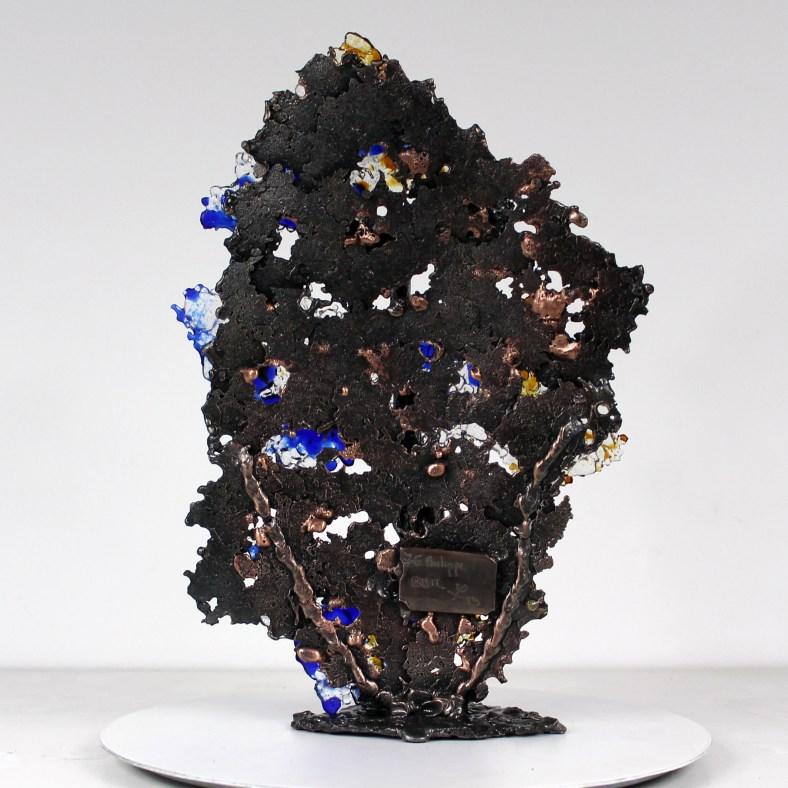 Acteur de l'ombre 2 - Sculpture Visage verre et métal