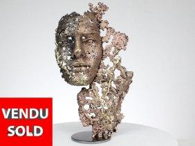 une larme III sculpture visage metal acier bronze laiton a tear III face sculpture metal steel bronze brass philippe BUIL