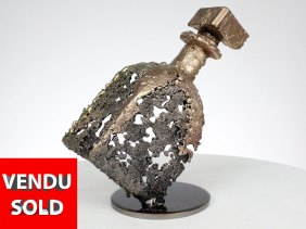bouteille vielle prune sculpture dentelle bronze acier laiton bottle old plum sculpture lace bronze steel brass philippe buil