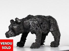 Buffon ours III - Sculpture animal dentelle bronze acier - bear sculpture lace bronze steel - Philippe Buil sculpteur